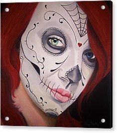 Sugar Skull Girl #1 Acrylic Print by Brian Broadway