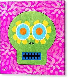 Sugar Skull Green And Pink Acrylic Print by Linda Woods