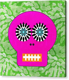 Sugar Skull Pink And Green Acrylic Print by Linda Woods