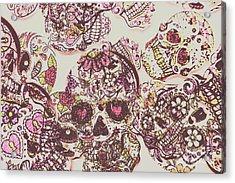 Sugarskull Punk Patchwork Acrylic Print