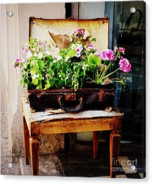 Suitcase Of Flowers Acrylic Print