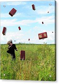 Suitcase Rain Acrylic Print by Roman Rodionov