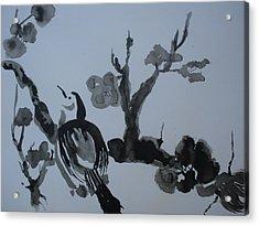 Sumi-e Bird And Plum Blossoms Acrylic Print by Warren Thompson