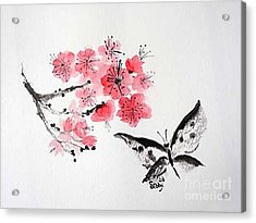 Acrylic Print featuring the painting Sumi -e Butterfly by Sibby S