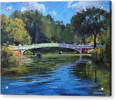 Summer Afternoon On The Lake, Central Park Acrylic Print by Peter Salwen