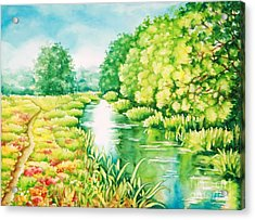 Acrylic Print featuring the painting Summer Along The Creek by Inese Poga