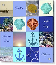 Summer Beach House Collage Acrylic Print