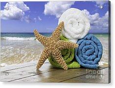 Summer Beach Towels Acrylic Print by Amanda Elwell