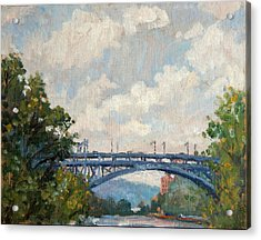 Summer Clouds Henry Hudson Bridge From Inwood Nyc Acrylic Print by Thor Wickstrom