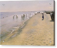 Summer Day At The South Beach Of Skagen Acrylic Print by Peder Severin Kroyer