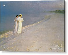 Summer Evening On The Skagen Southern Beach With Anna Ancher And Marie Kroyer Acrylic Print by Peder Severin Kroyer