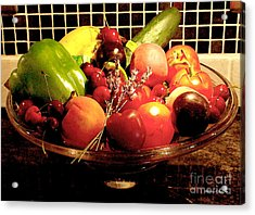 Summer Fruit And Veggies Still Life -- Another Fresh Paintograph Acrylic Print by Christine S Zipps