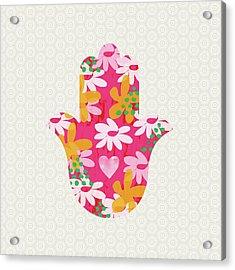 Summer Garden Hamsa- Art By Linda Woods Acrylic Print
