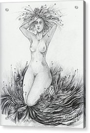 Acrylic Print featuring the drawing Summer II by Anna  Duyunova