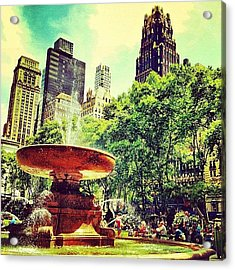 Summer In Bryant Park Acrylic Print by Luke Kingma
