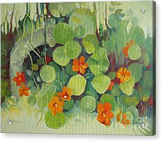 Acrylic Print featuring the painting Summer In The Garden by Elena Oleniuc