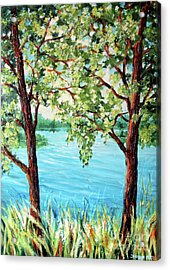 Acrylic Print featuring the painting Summer Lake View by Inese Poga
