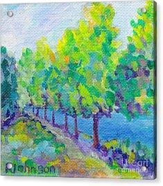 Summer Lake Walk - Miniature Painting Acrylic Print by Peggy Johnson