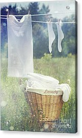 Summer Laundry Drying On Clothesline Acrylic Print by Sandra Cunningham