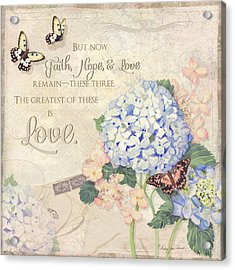 Summer Memories - Blue Hydrangea N Butterflies Faith Hope And Love Acrylic Print by Audrey Jeanne Roberts