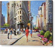 Summer Morning At Flatiron Plaza Acrylic Print by Peter Salwen