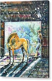 Acrylic Print featuring the painting Summer Morning At The Barn by Zaira Dzhaubaeva