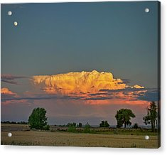 Acrylic Print featuring the photograph Summer Night Storms Brewing And Moon Above by James BO Insogna