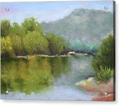 Acrylic Print featuring the painting Summer On The River by Nancy Jolley