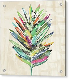 Acrylic Print featuring the mixed media Summer Palm Leaf- Art By Linda Woods by Linda Woods