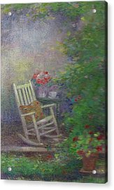 Acrylic Print featuring the painting Summer Porch And Rocker by Judith Cheng