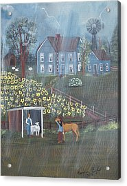 Acrylic Print featuring the painting Summer Rain by Virginia Coyle