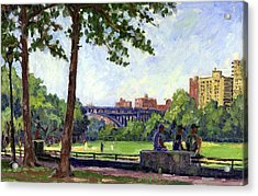 Summer Shade Baseball Fields At Inwood Nyc 8x12 Plein Air Impressionist Oil On Panel Acrylic Print
