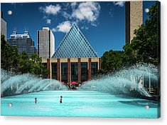 Acrylic Print featuring the photograph Summer Splash Downtown Edmonton by Darcy Michaelchuk