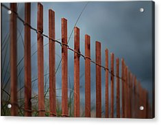 Acrylic Print featuring the photograph Summer Storm Beach Fence by Laura Fasulo