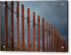 Summer Storm Beach Fence Acrylic Print by Laura Fasulo