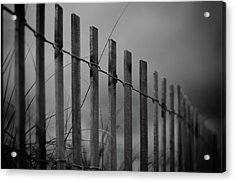 Acrylic Print featuring the photograph Summer Storm Beach Fence Mono by Laura Fasulo