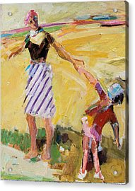 Acrylic Print featuring the painting Summer Sun  Mother And Child by Diane Ursin