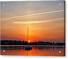 Summer Sunset At Anchor Acrylic Print