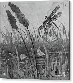 Acrylic Print featuring the painting Summertime Dragonfly Black And White by Robin Maria Pedrero