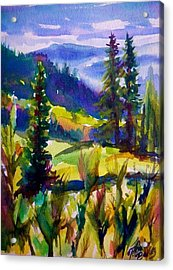 Summertime View From Nelson Sold Original Prints Available Acrylic Print by Therese Fowler-Bailey