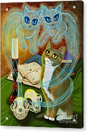 Summoning Old Friends - Ghost Cats Magic Acrylic Print