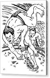 Sumo Wrestlers Acrylic Print by Aloysius Patrimonio
