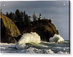 Sun And Surf With Lighthouse Acrylic Print