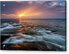 Sun Beams Halibut Pt. Rockport Ma. Acrylic Print by Michael Hubley