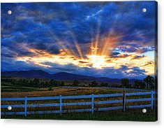Sun Beams In The Sky At Sunset Acrylic Print by James BO  Insogna