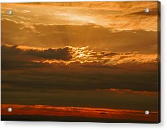 Sun Behind Dark Clouds In Vogelsberg Acrylic Print