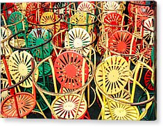 Sun Burst Chairs Stacked Acrylic Print by Todd Klassy