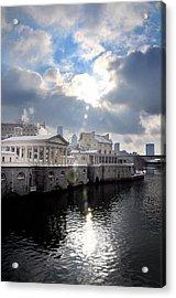 Sun Burst Over The Fairmount Water Works Acrylic Print by Bill Cannon
