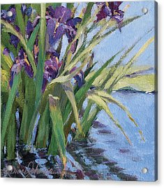 Sun Day - Iris In A Pond Acrylic Print by L Diane Johnson