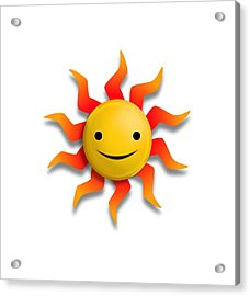 Acrylic Print featuring the digital art Sun Face No Background by John Wills